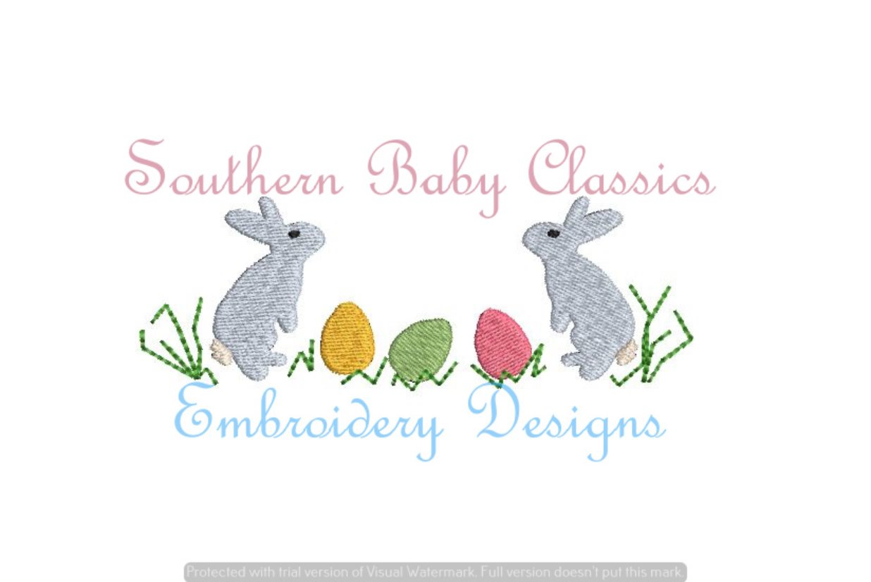 Bunny Easter Eggs Fill Machine Embroidery Spring/Easter Bunny Flowers