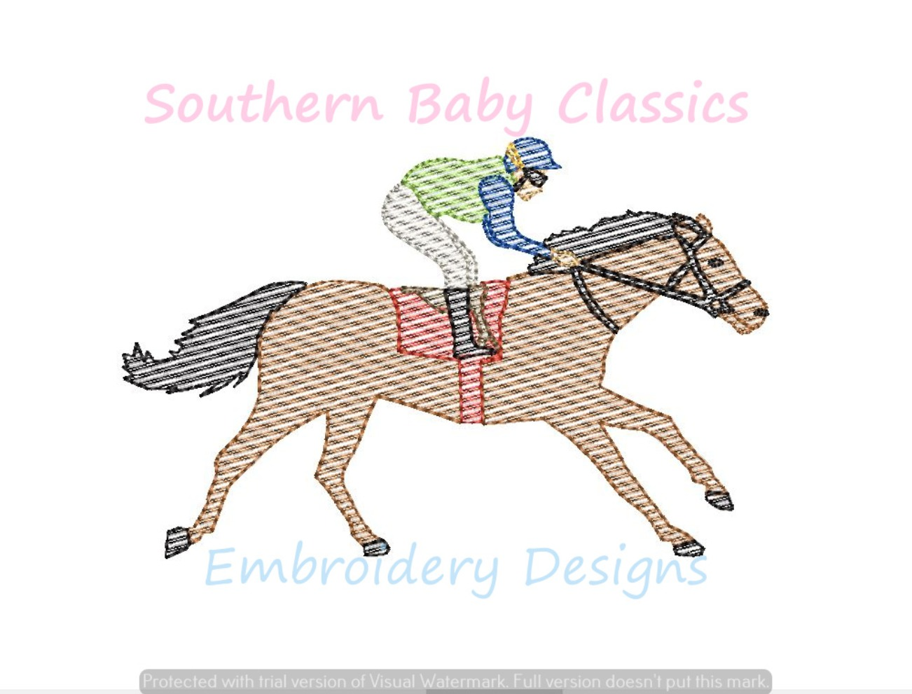 Jockey and Horse Derby Racing Boy Sketchy Light Fill Machine Embroidery Design