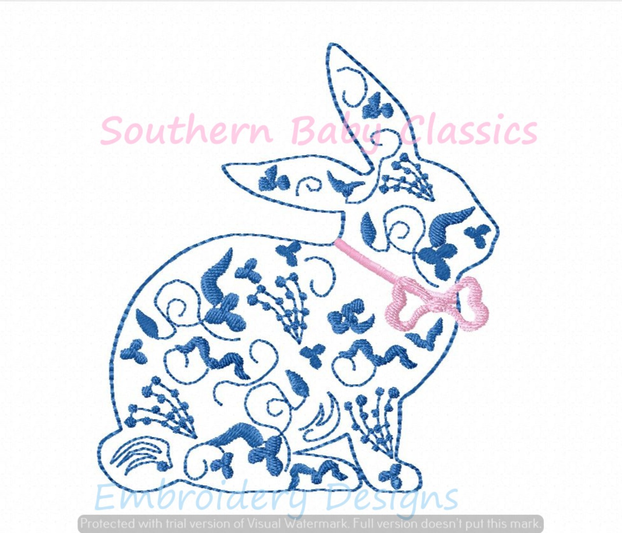 Chinoiserie Bunny Rabbit Machine Embroidery Design Easter Spring Preppy Floral Bow