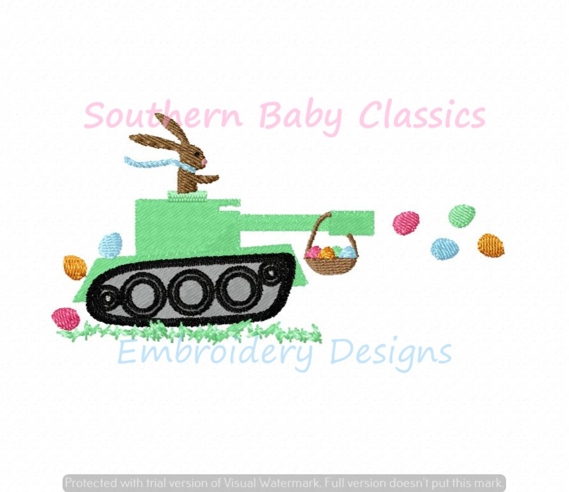 Easter Bunny Rabbit Tank Fill Machine Embroidery Design Truck Basket Boy Cute Spring