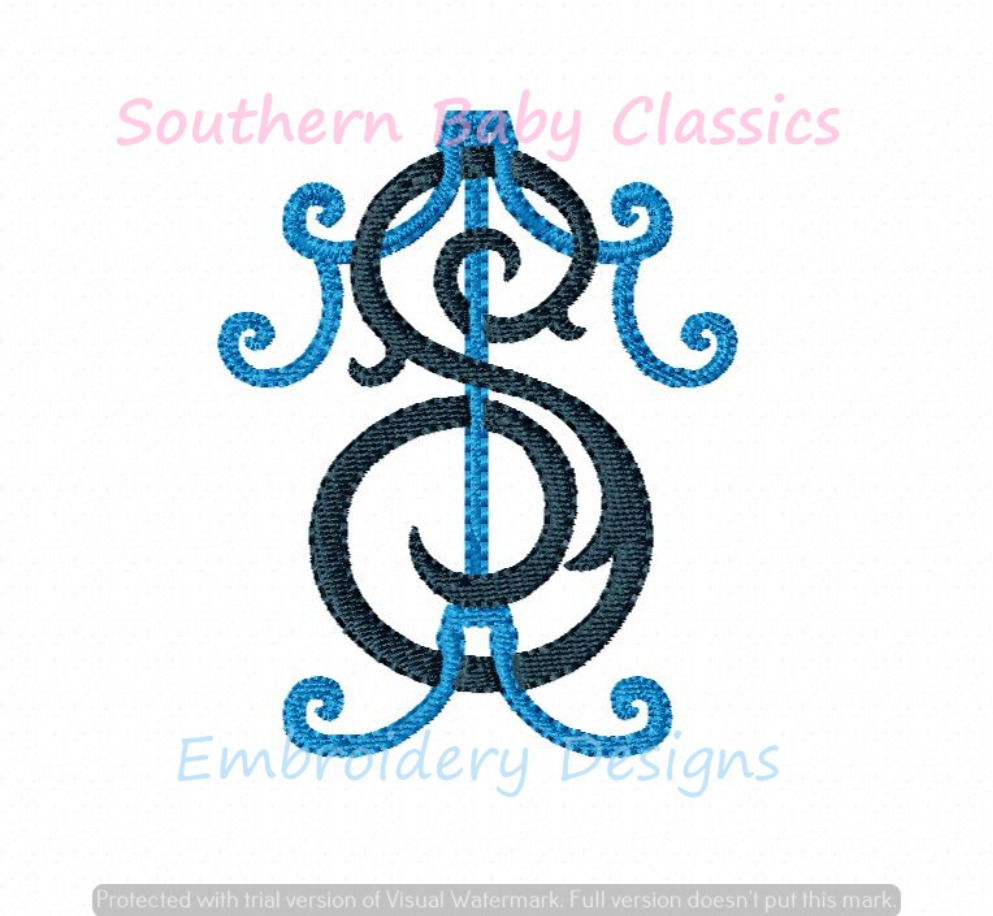 T S Intertwined Vintage Inspired Monogram Font Machine Embroidery Design Wedding Baby Shower Gift