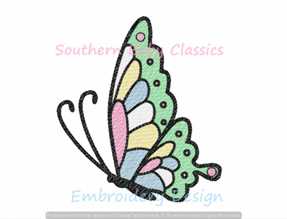 Butterfly Sketchy Fill Quick Stitch Machine Embroidery Design Summer Girl