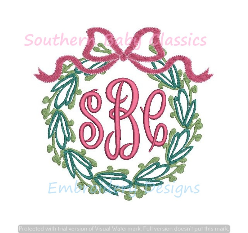 Greenery Wreath With Top Bow Monogram Frame Machine Embroidery Design Christmas Baby Shower Linens
