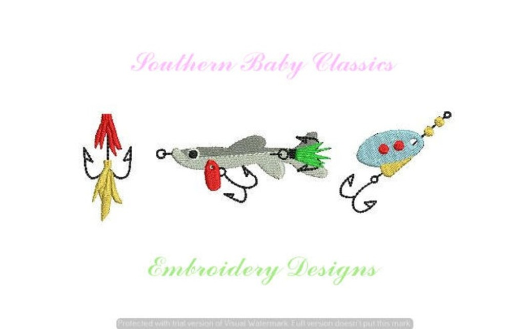 Fishing Lure Trio Fill Machine Embroidery Design Fly Fish Summer Boy