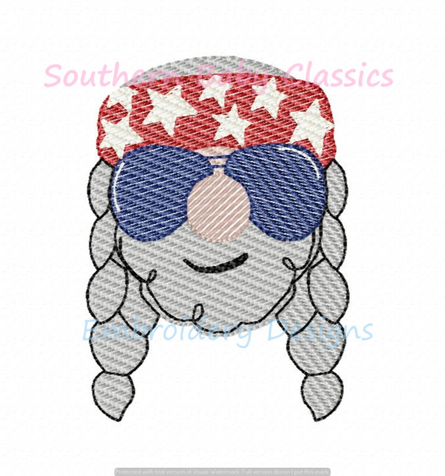 Country Music Singer with Braids Light Sketchy Fill Machine Embroidery Design