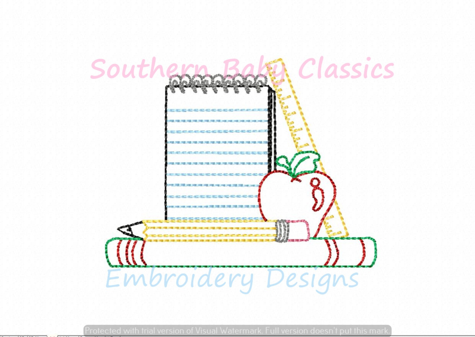 Back to School Teacher Paper Books Vintage Stitch Apple Machine Embroidery Design First Day