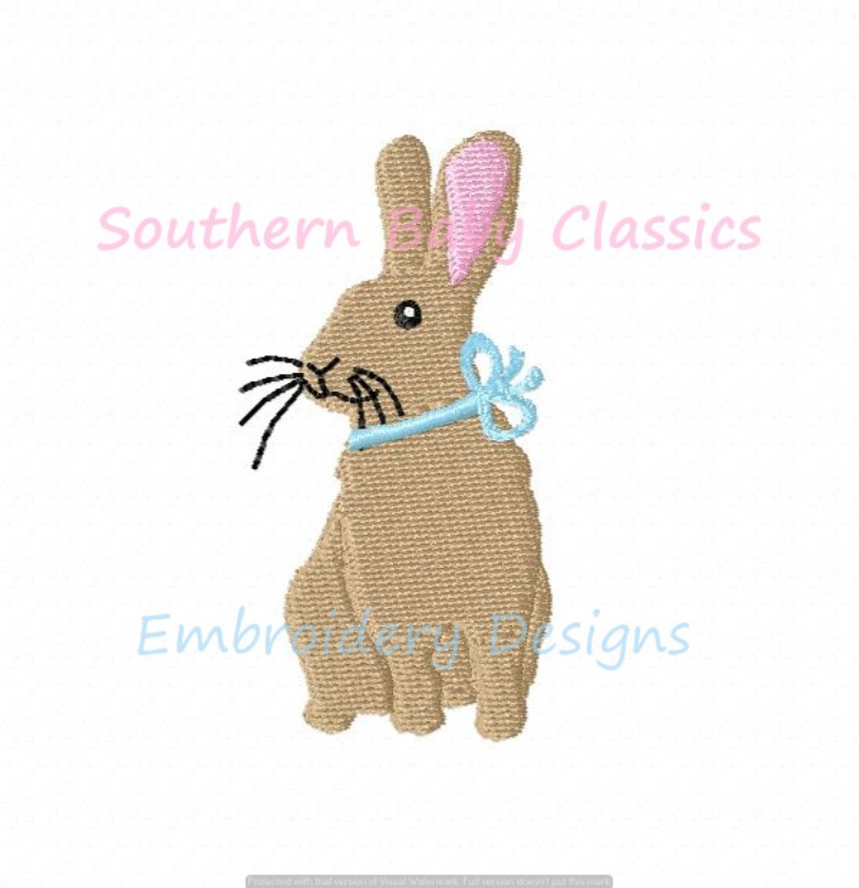 Bunny Rabbit Mini Fill Machine Embroidery Design Easter Spring Bow Boy Girl Baby