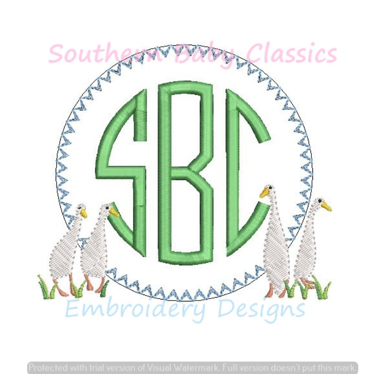 Geese Monogram Frame Machine Embroidery Design Easter Goose Boy Sibling Match Girl Preppy
