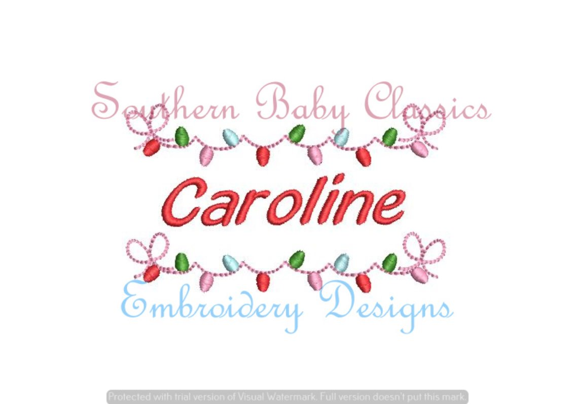 Christmas Lights with Bow Fill Name Frame Machine Embroidery Christmas