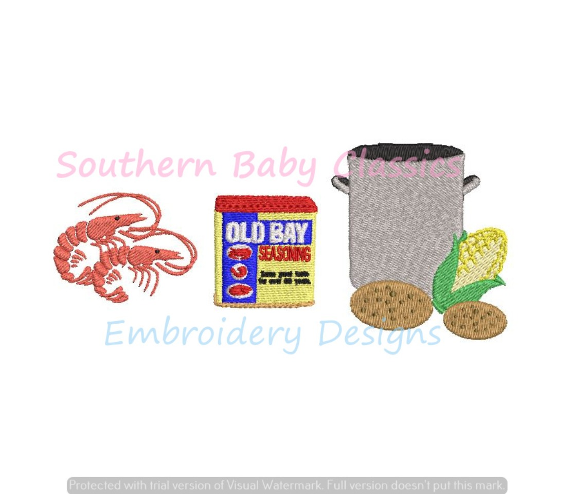 Seafood Seasoning Shrimp Trio Low Country Boil Crab Old Machine Embroidery Design