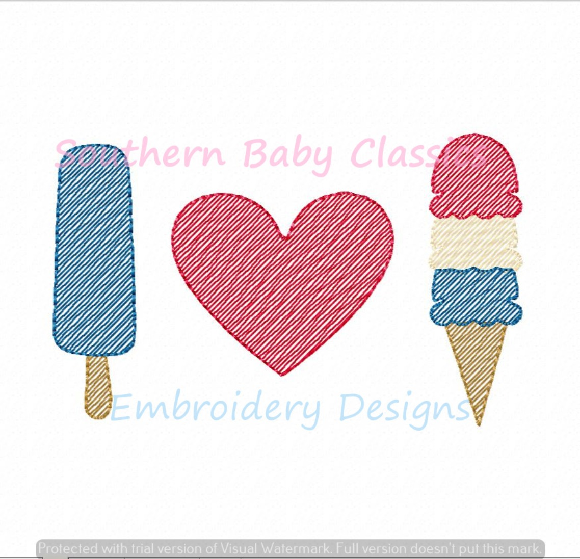 I Love Heart Ice Cream Sketchy Fill Machine Embroidery Design Summer Patriotic Boy Girl Popsicle
