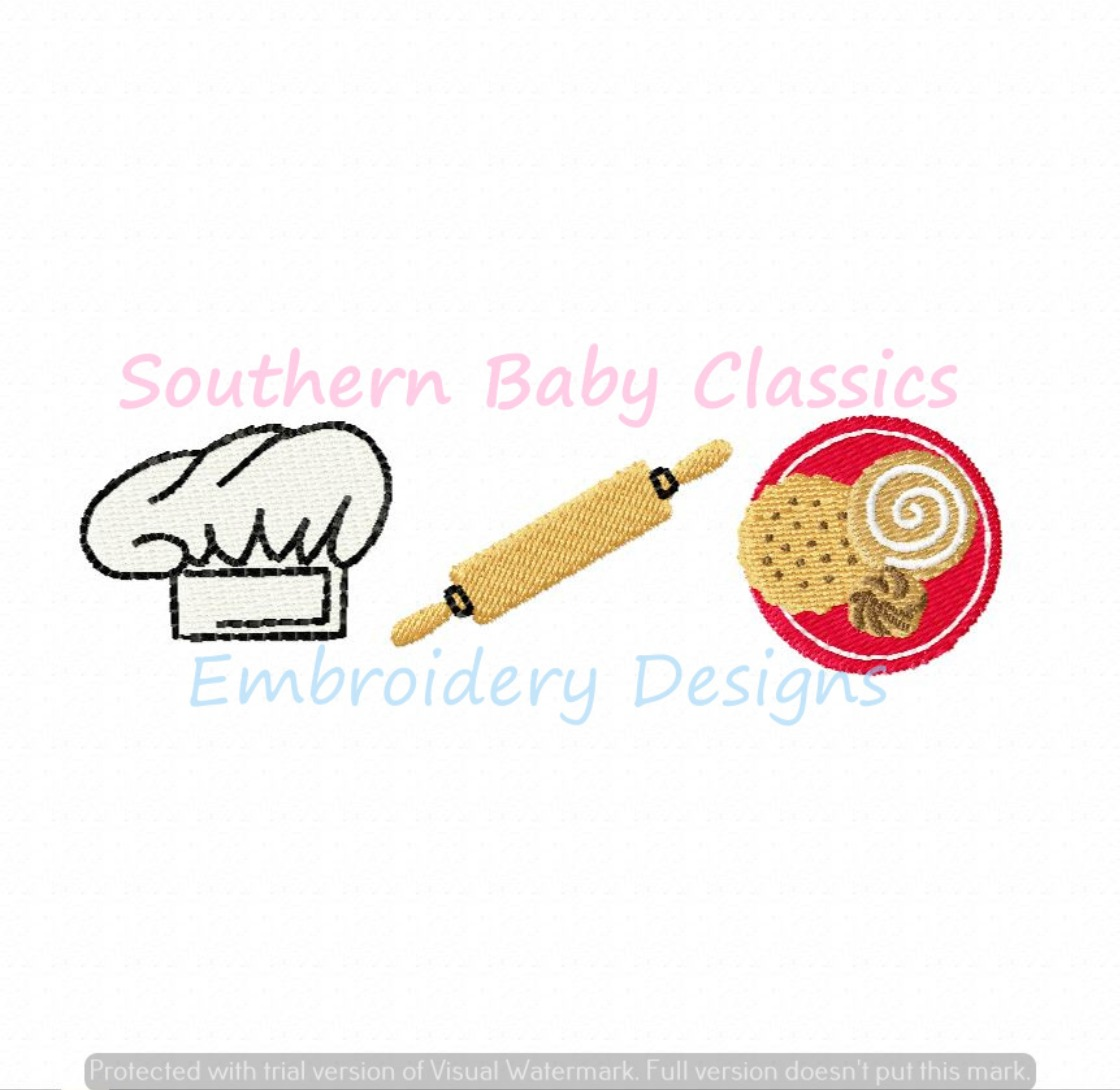 Baker Baking Trio Chef's Hat Rolling Pin Cookies Machine Embroidery Design Christmas
