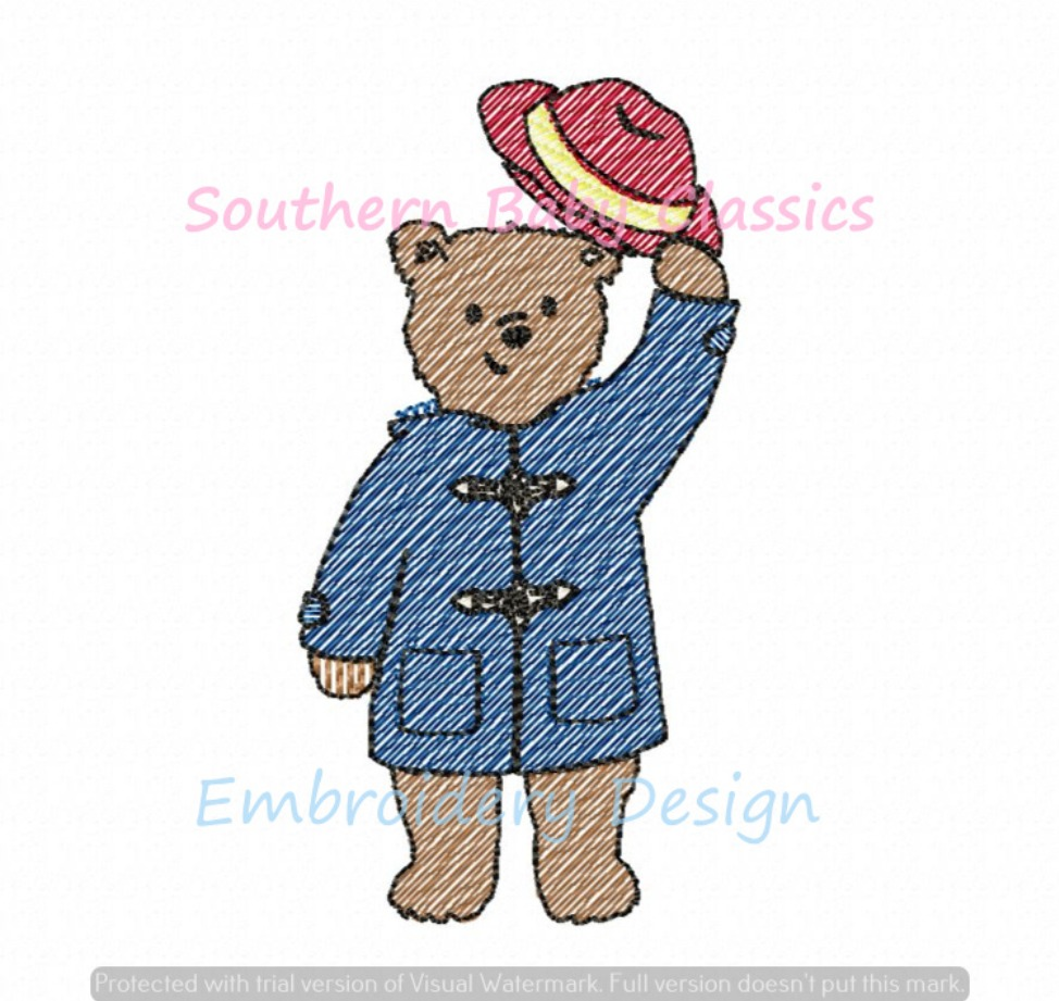 Coat and Hat Wearing Bear Character Light Sketchy Fill Machine Embroidery Design