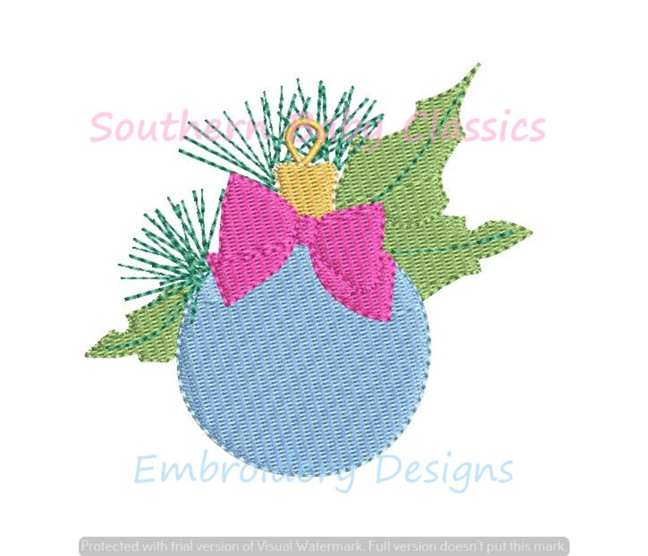 Christmas Ornament With Bow and Holly Mini Fill Machine Embroidery Design