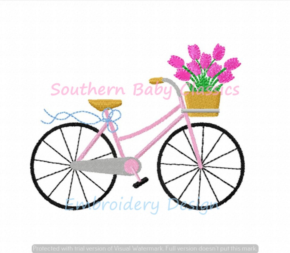 Bike with Flowers in Basket Machine Embroidery Design Tulips Bicycle Spring Summer Girl