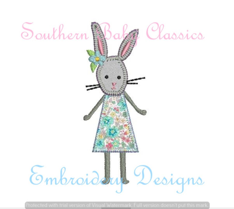 Bunny Girl Applique Machine Embroidery Easter