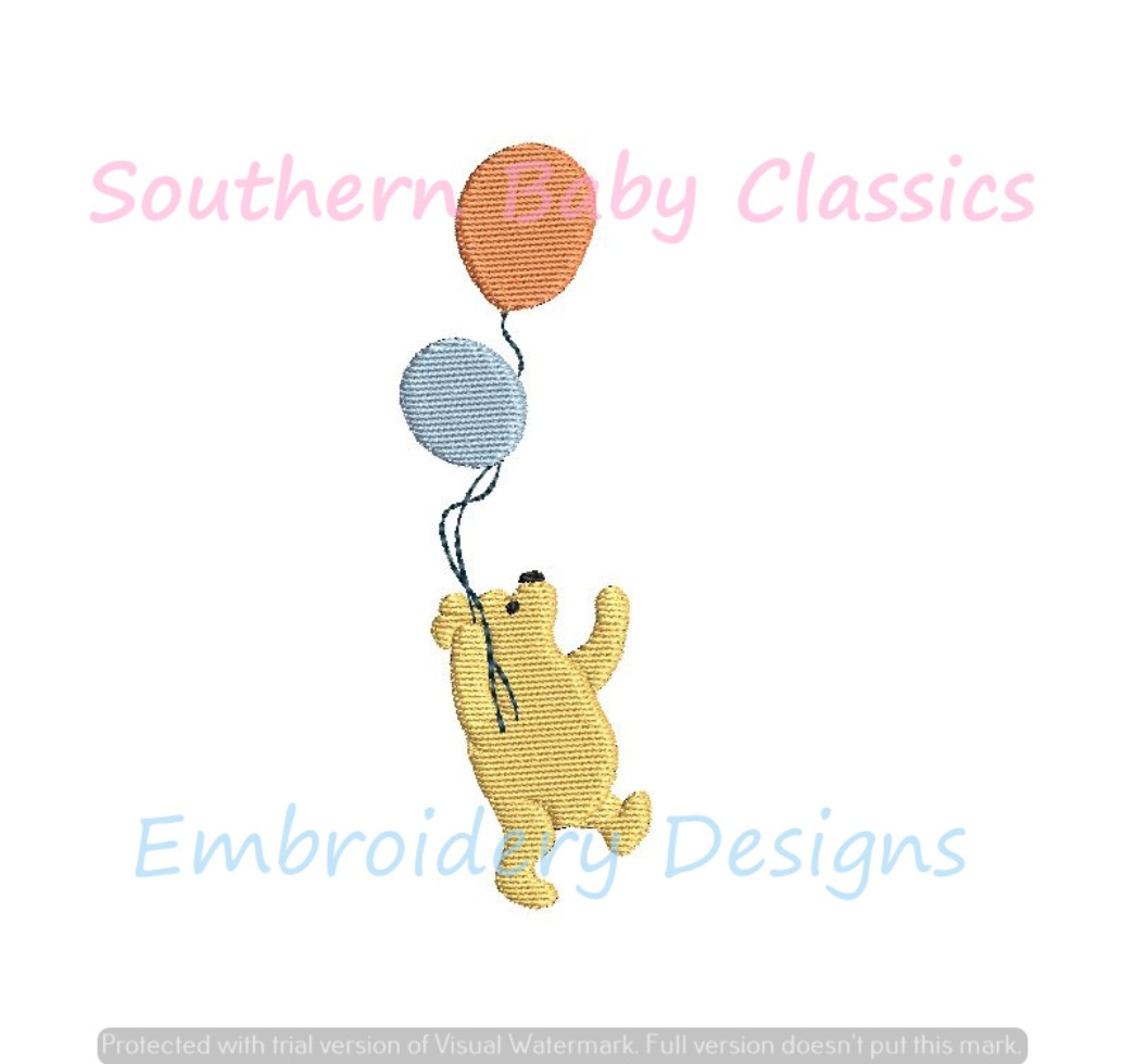 Bear with Balloons Mini Fill Machine Embroidery Design Birthday