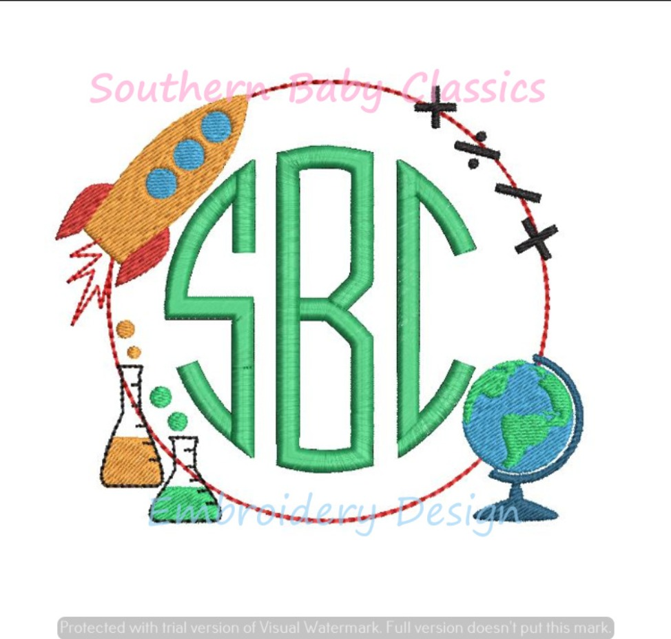 Math and Science Back to School Monogram Frame Machine Embroidery Design Globe Rocket Chemistry