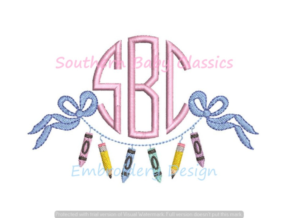 Crayons Pencil Bow Back to School Monogram Swag Frame Machine Embroidery Design Girl
