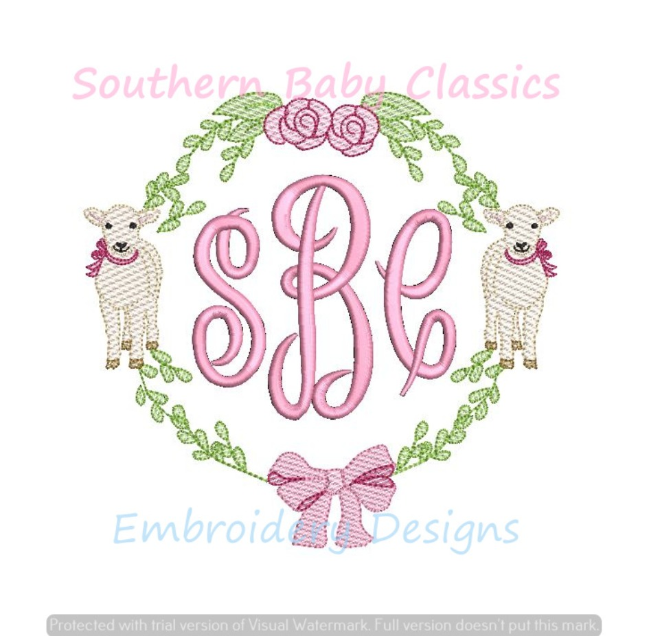 Double Lamb Lambs Bow Girl Sheep Easter Floral  Monogram Frame  Machine Embroidery Design