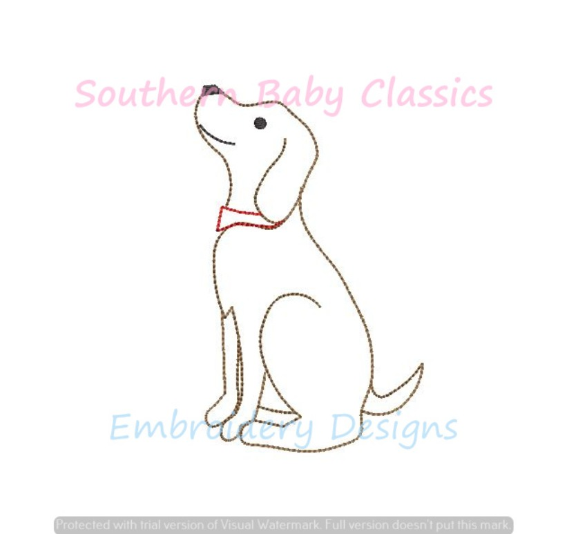 Vintage Stitch Dog Looking Up Machine Embroidery Design Puppy Cute Boy Preppy Dogs