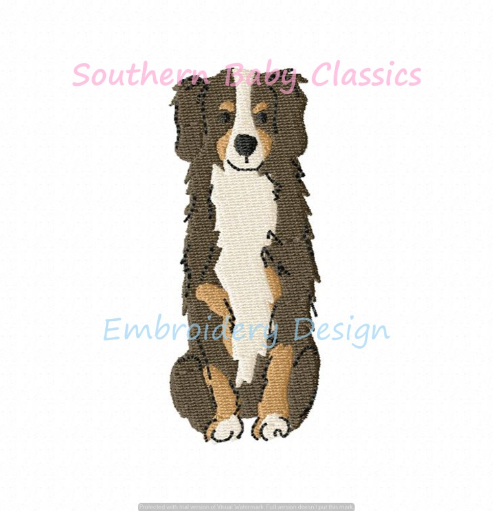 Bernese Mountain Dog Machine Embroidery Design Mtn Dogs Full Fill