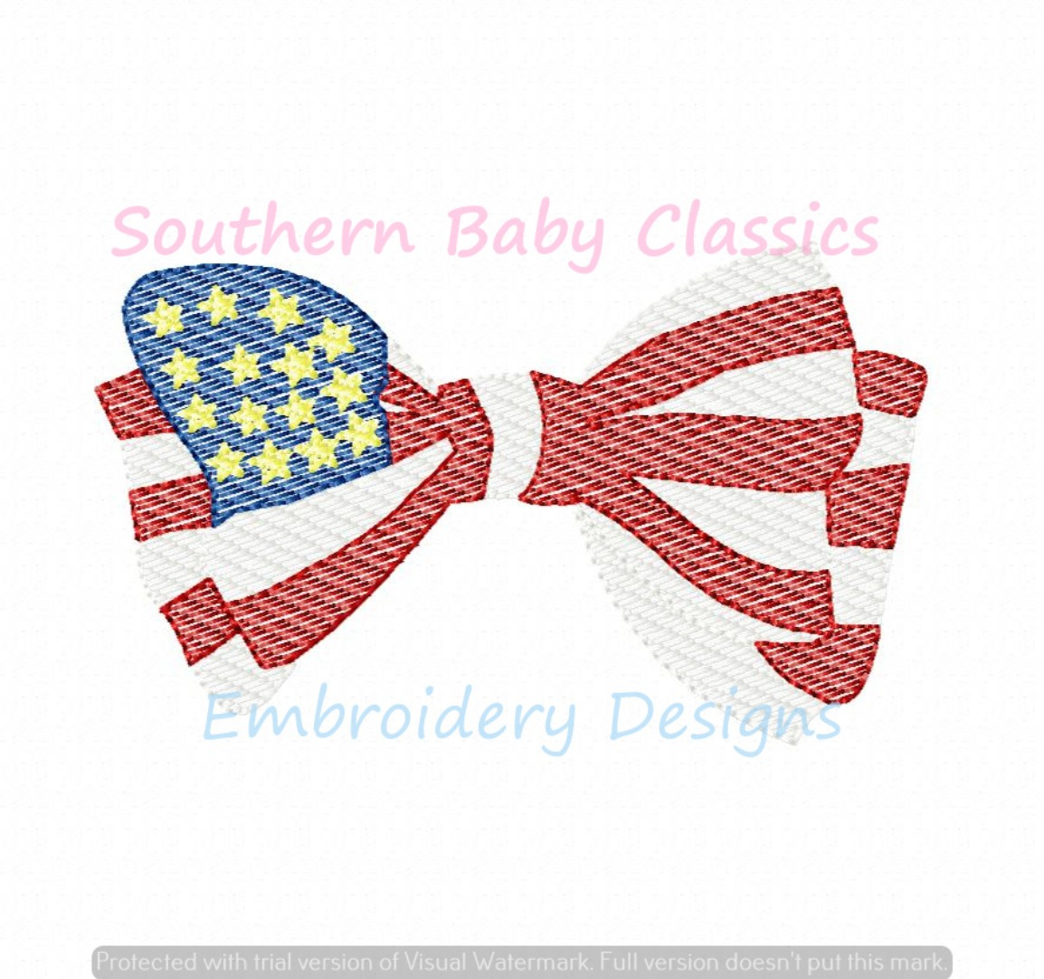 American Flag Bow Patriotic Light Sketchy Fill Machine Embroidery Design Fourth July