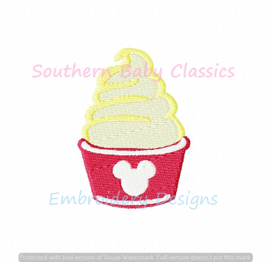 Pineapple Whip Ice Cream Mouse Character Amusement Park Snack Machine Embroidery Design