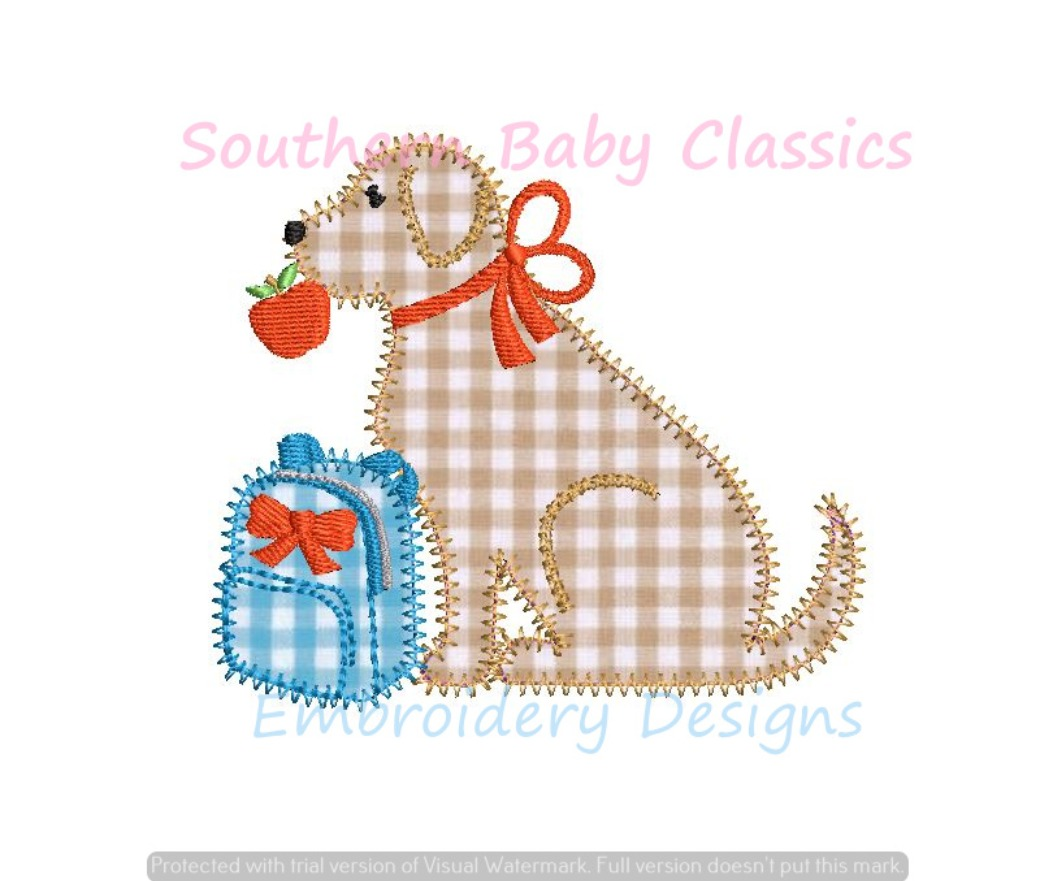 Back to School Dog Girl Apple Applique Machine Embroidery Instant Download