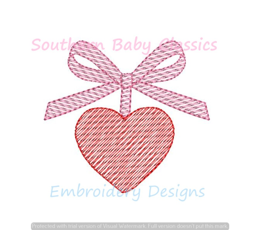 Heart Bow String Light Sketchy Fill Machine Embroidery Valentine's Day Valentine