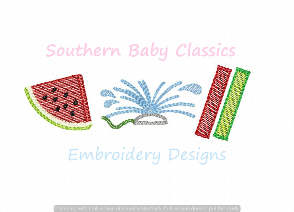 Backyard Fun in the Summer Light Sketchy Fill Machine Embroidery Design Ice Pop Watermelon Sprinkler