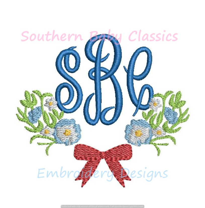 Floral Bow Roses Greenery Leaves Monogram Bottom Swag Machine Embroidery Design