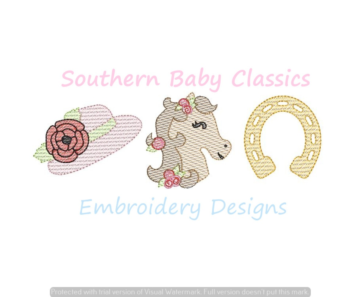 Horse Racing Derby Girl Trio Bonnet Horse Shoe Light Sketchy Fill Machine Embroidery Design