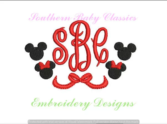 Boy Girl Mouse with Bow Design Swag Half Circle Frame File for Embroidery Machine Monogram Instant D