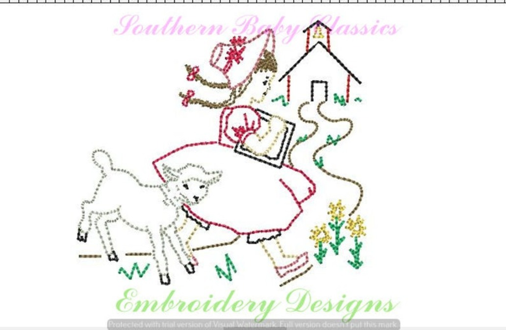 Mary Had a Little Lamb Vintage Stitch Machine Embroidery Design