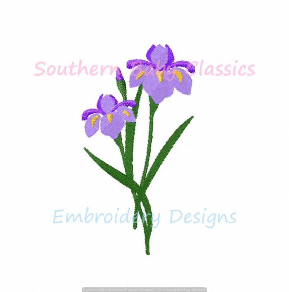 Iris Spring Easter Flower Machine Embroidery Design Fill Floral Mini