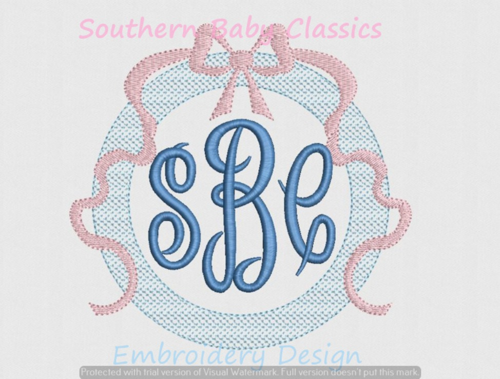 Artsy Chic Fill Monogram Frame with Bow Ribbon Topper Machine Embroidery Design Girl Baby
