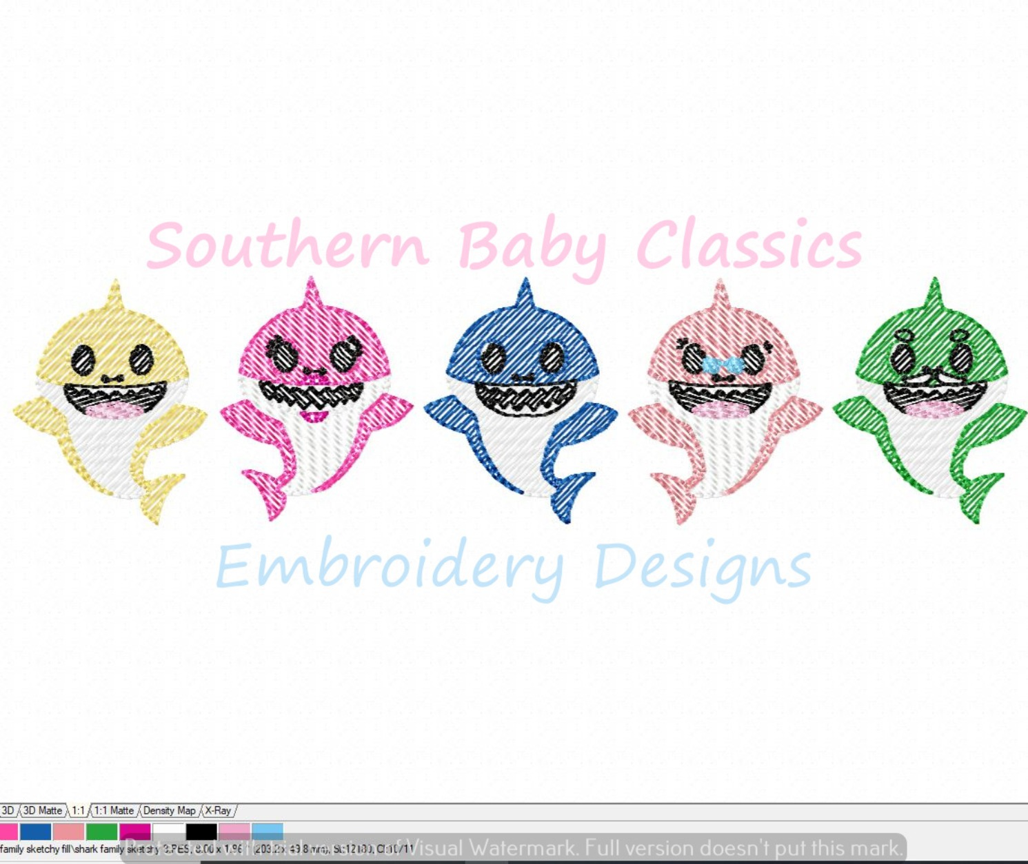 Baby Shark Family Character Light Sketchy Fill Machine Embroidery Design Mommy Daddy Grandpa Grandma