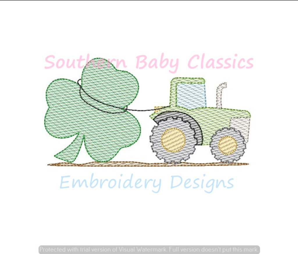 Clover Shamrock St. Patrick's Day Tractor Farm Light Sketchy Fill Machine Embroidery Design