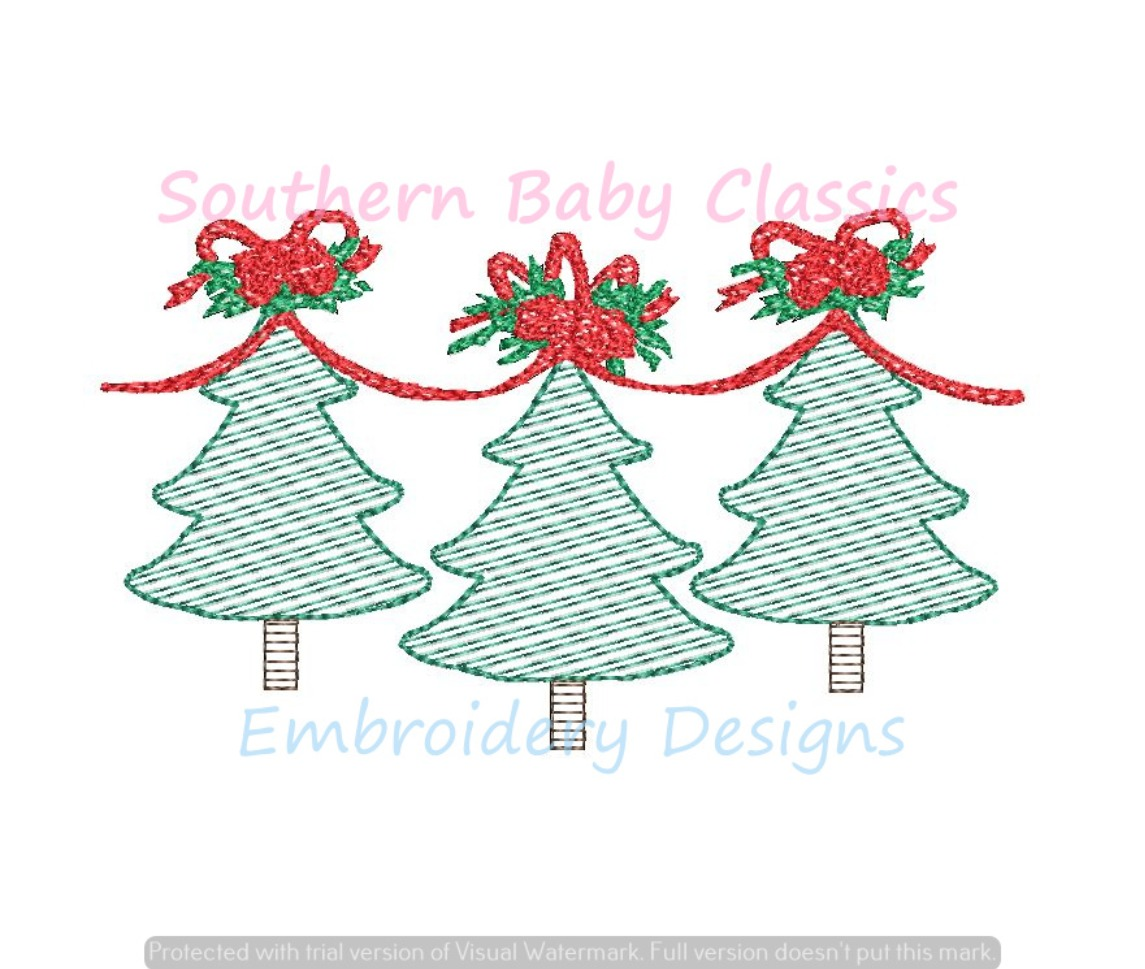 Christmas Flowers Floral Tree Connected By Bow Ribbon Light Sketchy Fill Machine Embroidery Design