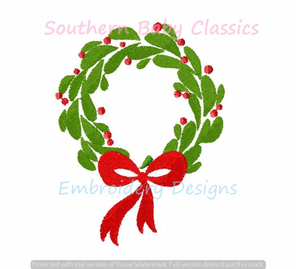 Mini Fill Christmas Wreath with Bow Machine Embroidery Design