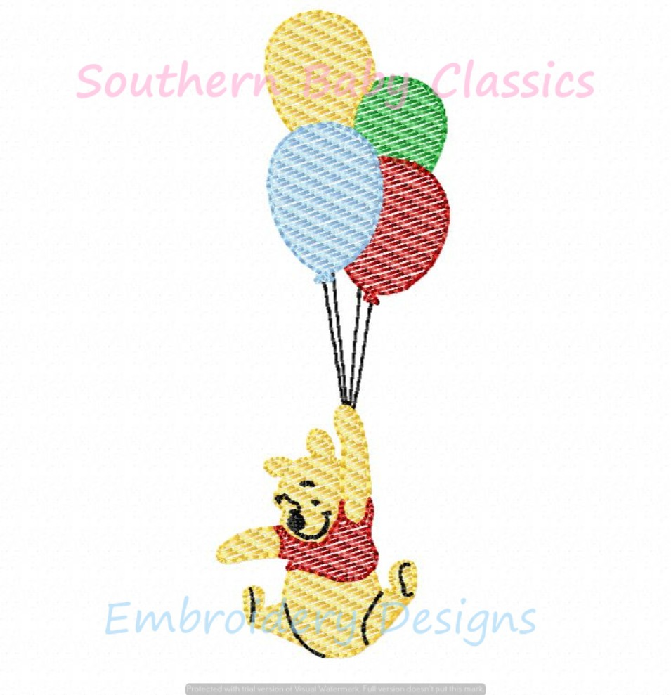 Honey Loving Bear Character With Balloons Machine Embroidery Design Sketchy Fill Birthday