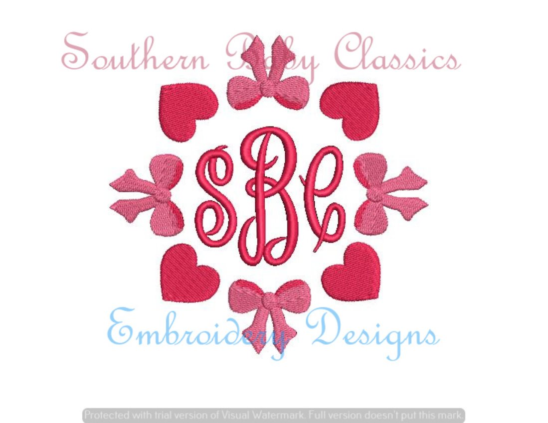 Heart Bow Frame Fill Monogram Frame Machine Embroidery Valentine's Day