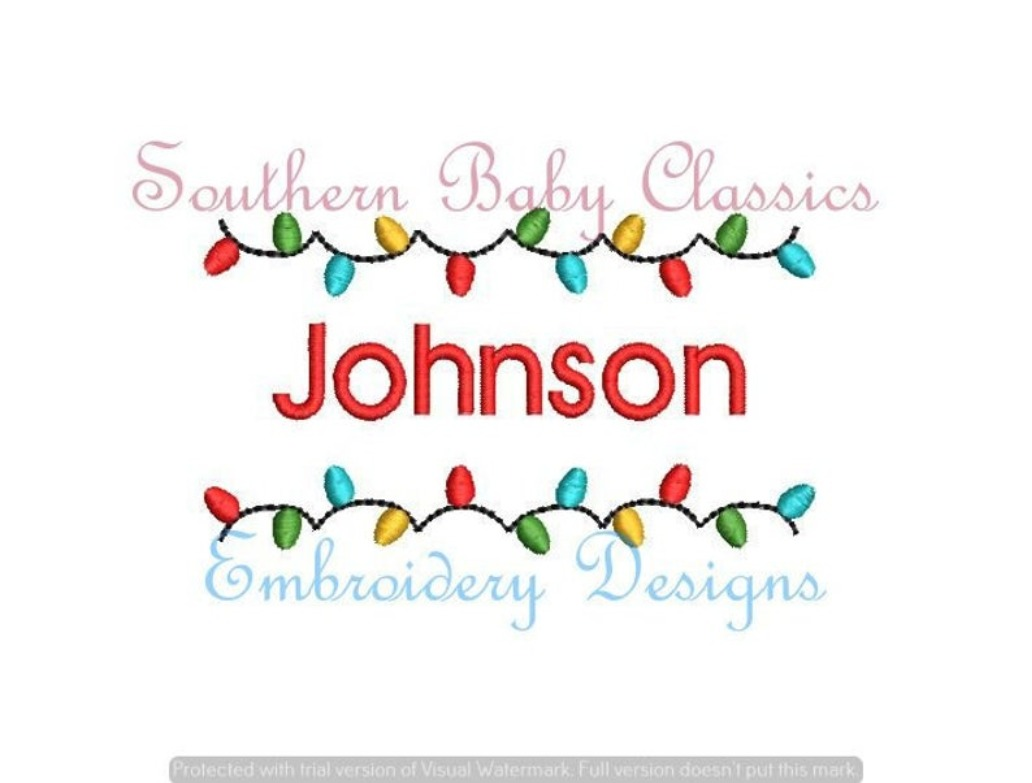 Christmas Lights String Name Frame Fill Machine Embroidery Design Boy