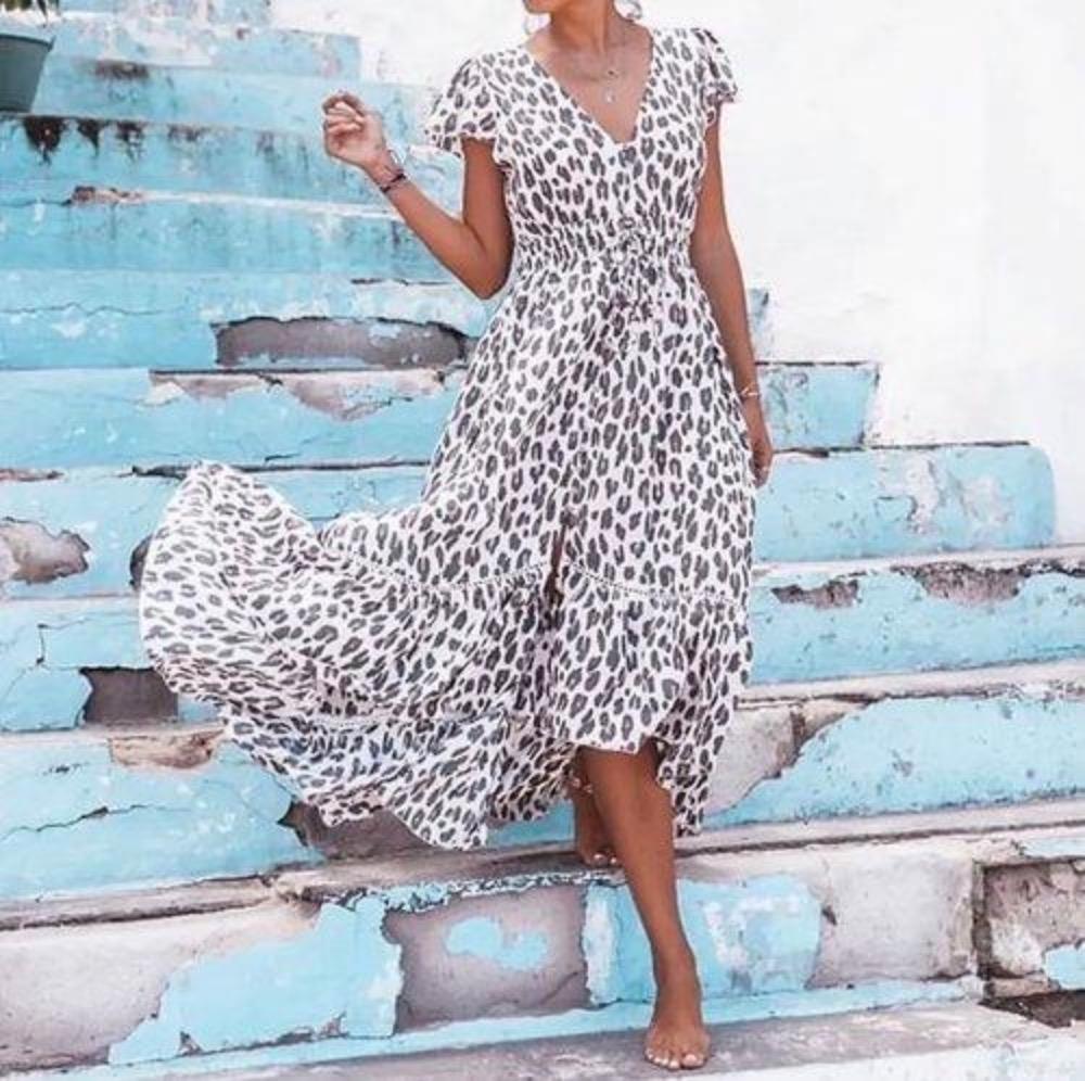 Coconut Milk by stajl, Nafisa Dress - Leopardmönster