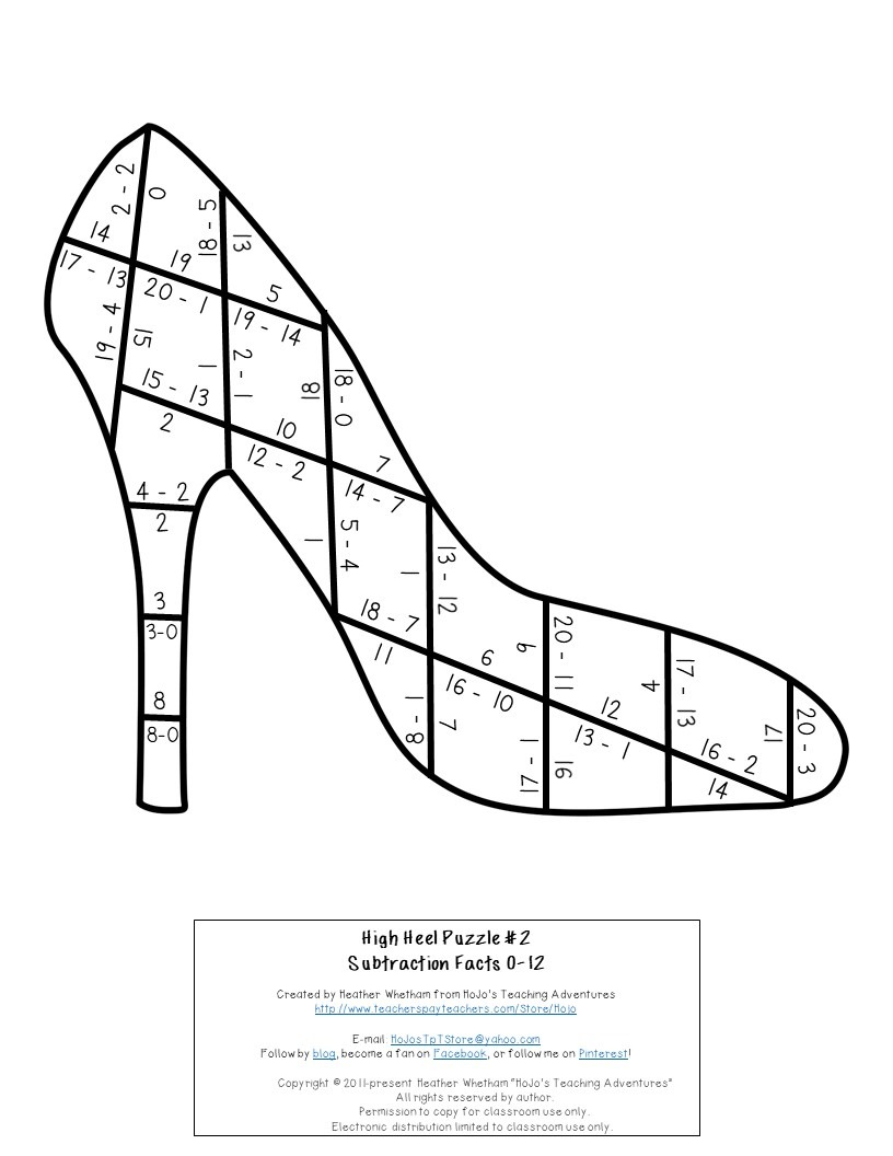 SUBTRACTION High Heel Puzzles for 1st, 2nd, or 3rd Grade