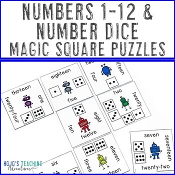 Numbers 1-12 and Number Dice Magic Square Puzzles