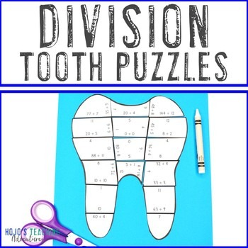 Division Tooth Puzzles for 3rd, 4th, or 5th Grade Kids