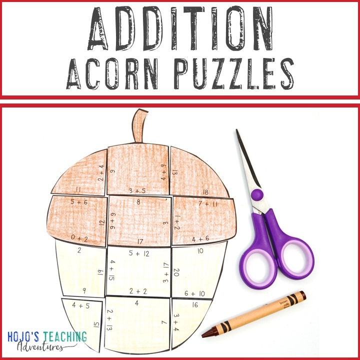 ADDITION Acorn Puzzles for 1st, 2nd, or 3rd Grade Kids
