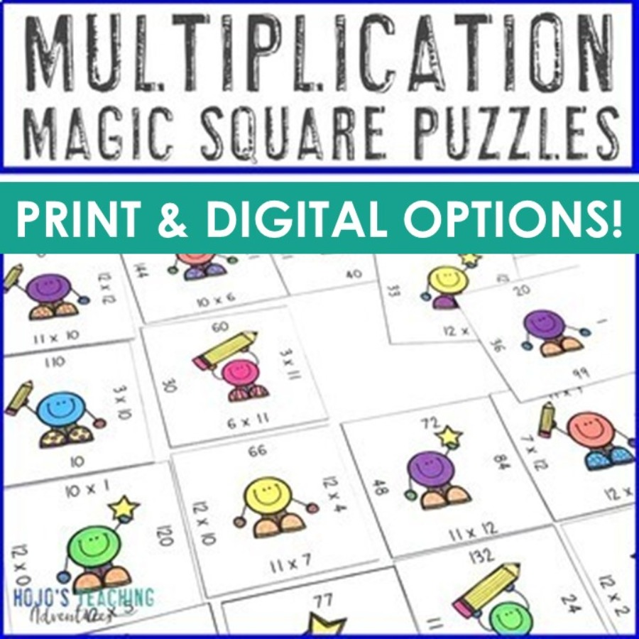 Multiplication Magic Square Puzzles - Print AND Digital Options